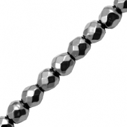 Hematite kralen rond 4mm facet geslepen Anthracite grey