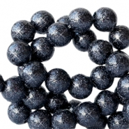 6 mm acryl kralen met glitter Deep dark blue