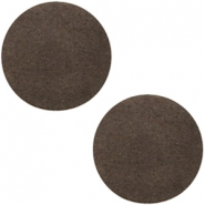 DQ leer cabochons 12mm Dark vintage brown