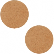 DQ leer cabochons 12mm Light cognac brown