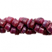 Schelp kralen disc 5-6mm Aubergine red