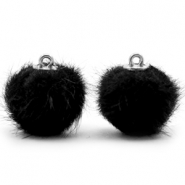 Pompom bedels faux fur 16mm Black
