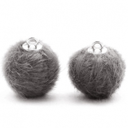 Pompom bedels faux fur 16mm Dark grey