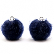 Pompom bedels faux fur 16mm Dark midnight blue