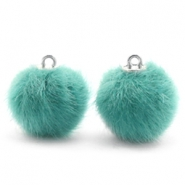 Pompom bedels faux fur 16mm Blue zircon