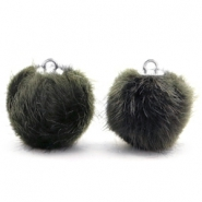 Pompom bedels faux fur 16mm Dark olive green