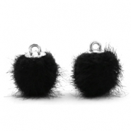 Pompom bedels faux fur 12mm Black