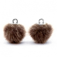 Pompom bedels faux fur 12mm Classic brown