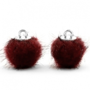 Pompom bedels faux fur 12mm Port red