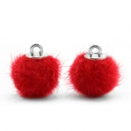 Pompom bedels faux fur 12mm Scarlet red