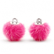 Pompom bedels faux fur 12mm Magenta pink