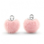 Pompom bedels faux fur 12mm Light pink