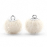 Pompom bedels faux fur 12mm Off white