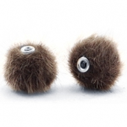 Pompom kralen faux fur 12mm Classic brown