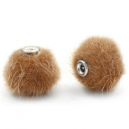 Pompom kralen faux fur 12mm Vintage golden brown