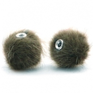 Pompom kralen faux fur 12mm Olive green