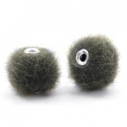 Pompom kralen faux fur 12mm Sage green