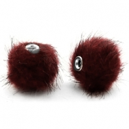 Pompom kralen faux fur 12mm Port red