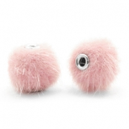 Pompom kralen faux fur 12mm Light pink