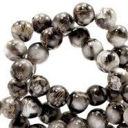6 mm glaskralen gold line Dark anthracite-white