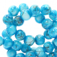 6 mm glaskralen gold line Turquoise blue-white