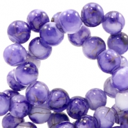 6 mm glaskralen gold line Purple-white