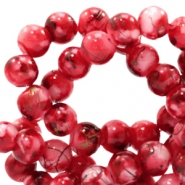 6 mm glaskralen gold line Ruby red-white