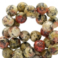 8 mm natuursteen kralen rond Jade Mixed natural red-yellow