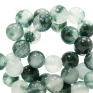 8 mm natuursteen kralen rond Jade Mixed white-green