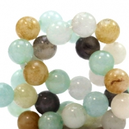 4 mm natuursteen kralen rond Mixed light blue