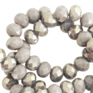 Top Facet kralen 6x4 mm disc Greige taupe-half champagne pearl shine coating
