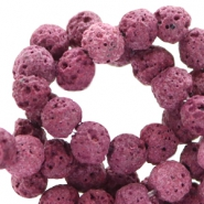 6 mm natuursteen kralen mat Lava Cherry purple