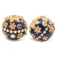 Bohemian kralen 20mm Dark blue-gold