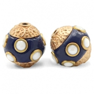 Bohemian kralen 14mm Dark blue-gold