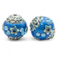Bohemian kralen 16mm Olympic blue-silver