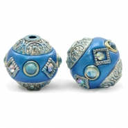 Bohemian kralen 14mm Olympic blue-silver