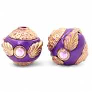 Bohemian kralen 14mm Purple-rosegold