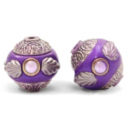Bohemian kralen 14mm Purple-silver