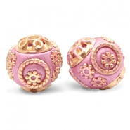 Bohemian kralen 14mm Metallic dark pink-gold