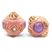 Bohemian kralen 14mm Sweet pink-purple gold