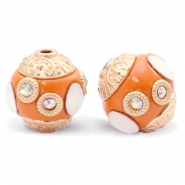 Bohemian kralen 14mm Mandarin orange-gold crystal
