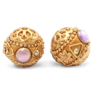 Bohemian kralen 16mm Purple-apricot gold