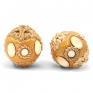 Bohemian kralen 16mm Golden coast brown-gold