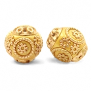 Bohemian kralen 14mm Mustard yellow-gold
