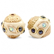 Bohemian kralen 14mm Beige-dark blue gold