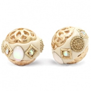 Bohemian kralen 16mm Beige-diamond coated white gold