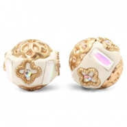 Bohemian kralen 16mm Beige-white crystal gold
