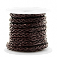 DQ leer 8 draden rond gevlochten 4mm Dark chocolate brown metallic