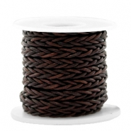 DQ leer 8 draden rond gevlochten 4mm Vintage chocolate brown