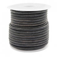 DQ leer rond 3 mm Vintage dark grey